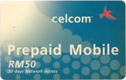Malaysia - Celcom 1 RM 50 (Blue) - GSM Refill 50RM, Exp. 01.2004, Used - Malaysia