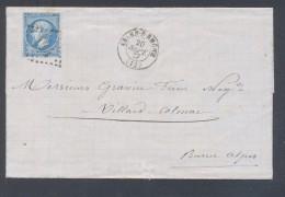 BOUCHES DU RHONE 13  ARLES SUR RHONE  LAC TAD 15 20/09/1867 GC 164 Sur N° 22   TTB - Marcophilie (Lettres)