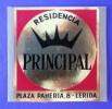 HOTEL RESIDENCIA PENSION PINCIPAL LERIDA SPAIN TAG LUGGAGE LABEL ETIQUETTE AUFKLEBER DECAL STICKER MADRID - Hotel Labels