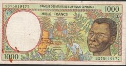C.A.S. Letter L For Gabon P402La 1000 FRANCS (19)93 FIRST DATE ! FINE - Central African States