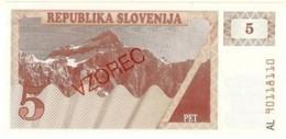 SLOVENIA 5 TOLARJEV ND (1990) P-3 UNC SPECIMEN [ SL203as1 ] - Slovenia