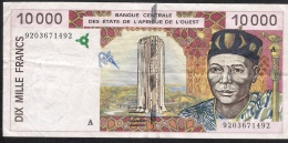 IVORY COST P114Aa 10.000 = 10000 FRANCS 1992 FIRST DATE ! !  AVF NO P.h. ! - Côte D'Ivoire
