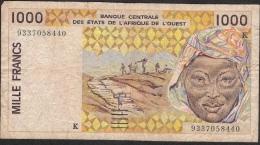 W.A.S. SENEGAL P711Kc 1000 FRANCS 1993 FINE NO P.h. ! - Senegal