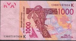 W.A.S. SENEGAL P715Kc 1000 FRANCS 2013 AVF Folfds NO P.h. ! - Senegal