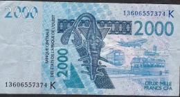 W.A.S. SENEGAL P716Kk 2000 FRANCS 2013 AVF Folfds NO P.h. ! - Senegal