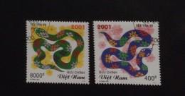 Pair Sets Of Vietnam Viet Nam CTO Stamps 2001 : Year Of Snake (Ms850) - Vietnam