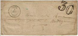 Gard, C. 15 SAUVE  04/12/[1858] (millésime Absent) + Taxe Dt 30s. LAC - 1849-1876: Classic Period