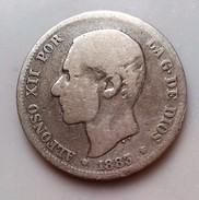 ESPAGNE 2 PESETAS 1883  ALFONSO XII    N°314 - [ 1] …-1931 : Reino