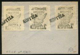 Enveloppe Avec Série Des 3 Timbres Provisoire De KORITZA De 1914 Avec Oblt Griffe Linéaire - Epirus & Albanie