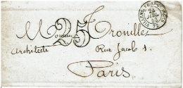 Seine-et-Oise, VILLENEUVE-ST-GEORGES  C. 15²  24/07/1853 + Taxe Dt 25 S. LSC - 1849-1876: Classic Period
