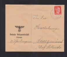 Dt. Reich Lothringen Brief Deutsche Volksgemeinschaft Ortsgruppe Wölferdingen Saar Gemünd - Brieven En Documenten