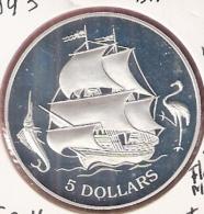 BAHAMAS 5 DOLLARS 1993 SILVER PROOF SAILING SHIP FLAMINGO MARLIN - Bahamas