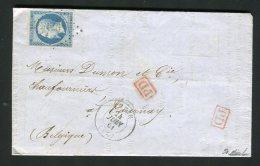 Rare Lettre D'Anzin Pour Tournay 1861 - Tarif Frontalier à 20 C Pour La Belgique - 1849-1876: Klassik