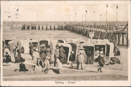 Kolberg Ko?obrzeg Seebrücke, Strandkörbe - Belebt Pommern Pomorskie 1925 - Polen