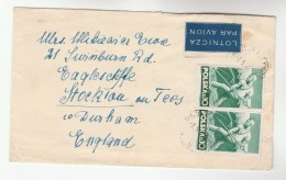 1948 Air Mail  POLAND COVER Franked STAMPS ON BOTH SIDES  To GB Airmail Label Farming Agriculture - Covers & Documents