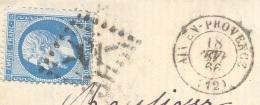 BOUCHES DU RHONE 13  AIX EN PROVENCE LAC TAD 15  18/02/1866 GC 41 Sur N° 22 Réexpédition à Saint Martin Du Crau TTB - Poststempel (Briefe)