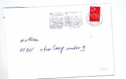 Lettre Flamme Rosieres Vin Fruit Poisson - Poststempel (Briefe)