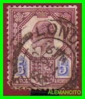 GRAN BRETAÑA  (  EUROPA  ) King Edward SELLO AÑO 1902  VALOR  5p  DULL  PURPURA ULTRA - 1902-1951 (Re)