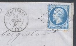 BOUCHES DU RHONE 13 EYGUIERES LAC TAD 15  24/04/1866 GC 1459  Sur N° 22 TTB - Storia Postale