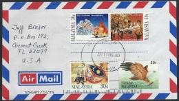 Malaysia  1996  Sc#582 Eagle, 588a, 599  On Cover - Malasia (1964-...)