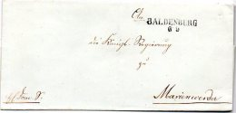 L025  Baldenburg En Pomeranie Pour Marienwerder  Cachet L2  Pommern - [1] Prephilately