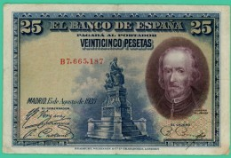 25 Pesetas - Espagne - N° B7 665 187 - Madrid 15 Agosto 1928 - TB+ - - [ 1] …-1931 : Premiers Billets (Banco De España)