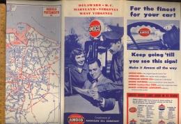 AMOCO American Oil Company Folding Map Of Delaware Maryland Virginia 1952 - United States