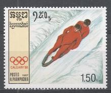 Kampuchea 1987. Scott #756 (MNH) Winter Olympic Games Calgary, Luge - Kampuchea