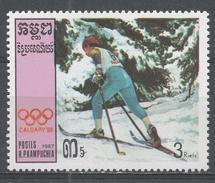 Kampuchea 1987. Scott #758 (MNH) Winter Olympic Games Calgary, Cross-country Skiing - Kampuchea