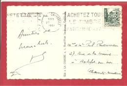 Y &T N°283  MARRAKECH  Vers  FRANCE   1951  VOIR 2 SCANS - Marokko (1891-1956)