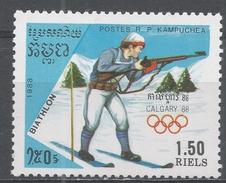 Kampuchea 1988. Scott #837 (MNH) Winter Olympic Games Calgary, Biathlon - Kampuchea
