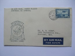 CANADA 1942 AIR MAIL COVER FIRST FLIGHT MONTREAL TO QUEBEC - 1937-1952 George VI
