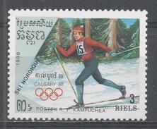 Kampuchea 1988. Scott #839 (MNH) Winter Olympic Games Calgary. Cross-country Skiing - Kampuchea