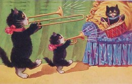 Cpa CHAT, 3  PETITS CHATS NOIRS Humanisés , MUSICIENS JAZZ BAND , 1923 , DRESSED CAT , KITTEN , KATZE - Animaux Habillés