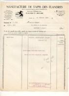 Facture 1956 : Manufacture De Tapis Des Flandres à Lille - Francia