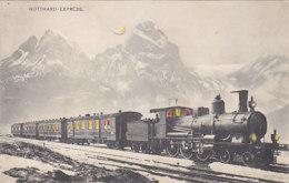 Gotthard-Express (Farbige Fenster & Lampen) - 1909  (60704) - Contre La Lumière