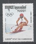 Cambodia 1991. Scott #1132 (MNH) Winter Olympic Games Albertville, Downhill Skiing - Cambodge