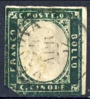 Sardegna IV Emissione Sassone N. 13Ab  C. 5 Verde Mirto Scuro Annullo Genova Aprile 1857 Firmato Biondi, Catalogo € 1400 - Sardinia
