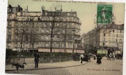 PARIS SQUARE PARMENTIER ET RUE DU FAUBOURG DU TEMPLE (CARTE GLACEE ET COLORISEE) - District 11