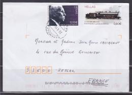 = Grèce 2 Timbres Sur Enveloppe Vers France 28.V.15 Portrait Et Locomotive - Greece