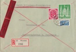 Bauten R-Brief Eilbote Mif Minr.97 IIeg. Bund Minr.130 Werdohl 4.6.52 - Bizone