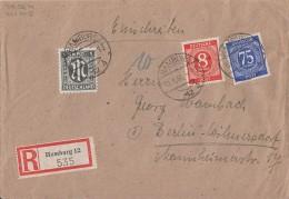 AM-Post R-Brief Mif 16, Gemeina. Minr.917,934 Hamburg 10.9.46 - Bizone
