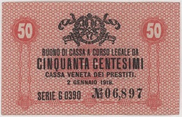 50 Centesimi - CASSA VENETA DEI PRESTITI - Year 1918 - Buoni Di Cassa
