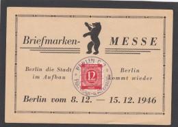 ALLIERTE BESETZUNG:BRIEFMARKENMESSE BERLIN 1946. - Bizone