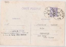 GRAY Haute Saone Sur ENTIER 1F20 IRIS. 1945 - Storia Postale