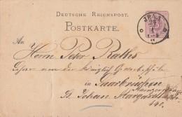 DR Ganzsache Nachv. Stempel K1 Jena 24.1. Gel. Nach Saarbrücken - Deutschland