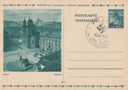 Böhmen & Mähren Ganzsache Minr.P6/08 Wenzelsplatz Gestempelt - Deutschland