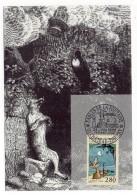 CARTE MAXIMUM - FABLES DE LA FONTAINE - LE CORBEAU ET LE RENARD - TAMPON PREMIER JOUR A CHATEAU-THIERRY - 1995 - - Cartes-Maximum