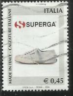 ITALIA REPUBBLICA ITALY REPUBLIC  2004 MADE IN ITALY LE CALZATURE SUPERGA USATO USED OBLITERE´ - 6. 1946-.. Repubblica