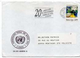 NATIONS-UNIES-Office Genève--Lettre De Genève Pour Montagny Ste Félicité-60--France-tp -cachet 20° Anniversaire - Office De Genève